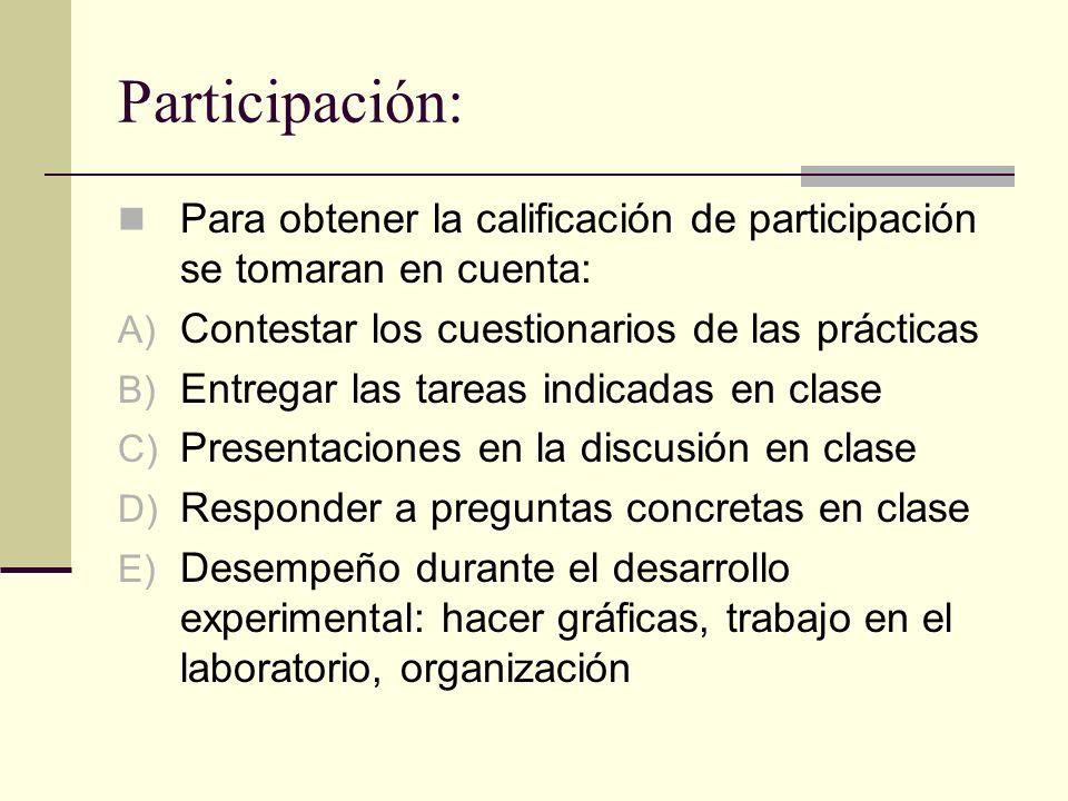 Participación: Para obtener la calificación de participación se tomaran en cuenta: A) Contestar los cuestionarios de las prácticas B) Entregar las tar
