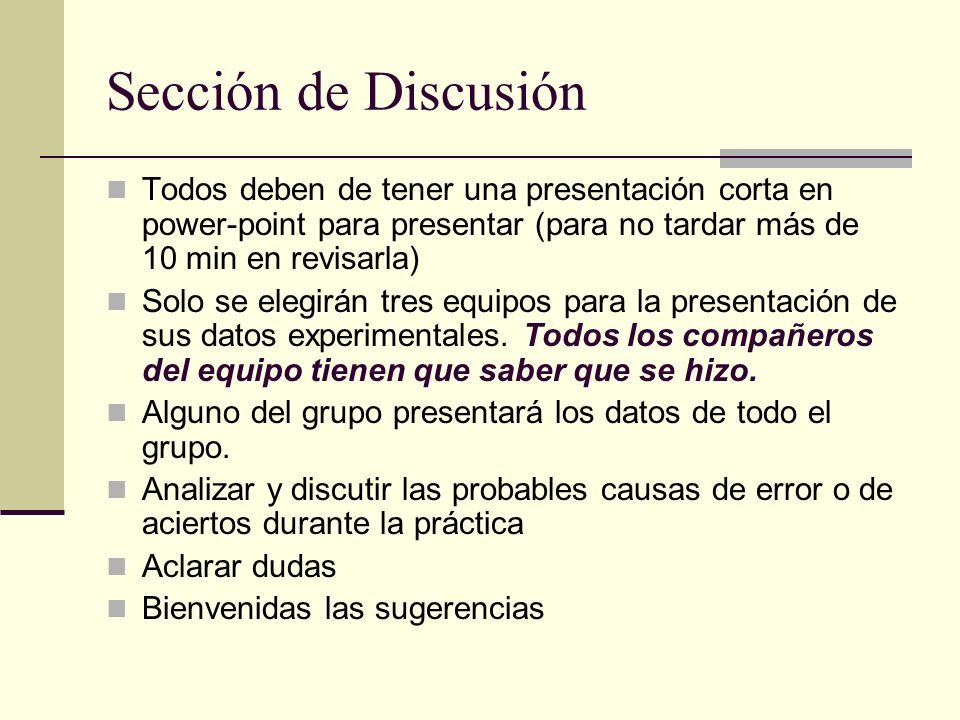 Sección de Discusión Todos deben de tener una presentación corta en power-point para presentar (para no tardar más de 10 min en revisarla) Solo se ele