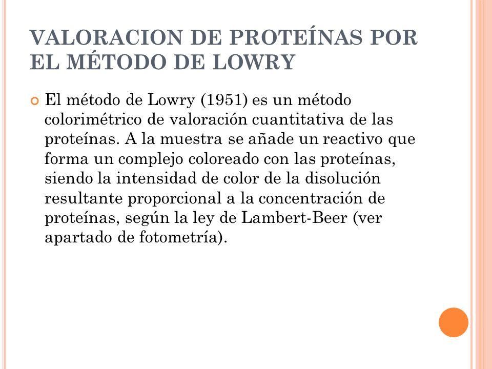 VALORACION DE PROTEÍNAS POR EL MÉTODO DE LOWRY El método de Lowry (1951) es un método colorimétrico de valoración cuantitativa de las proteínas. A la