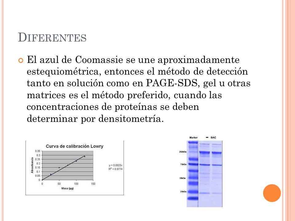 D IFERENTES El azul de Coomassie se une aproximadamente estequiométrica, entonces el método de detección tanto en solución como en PAGE-SDS, gel u otr