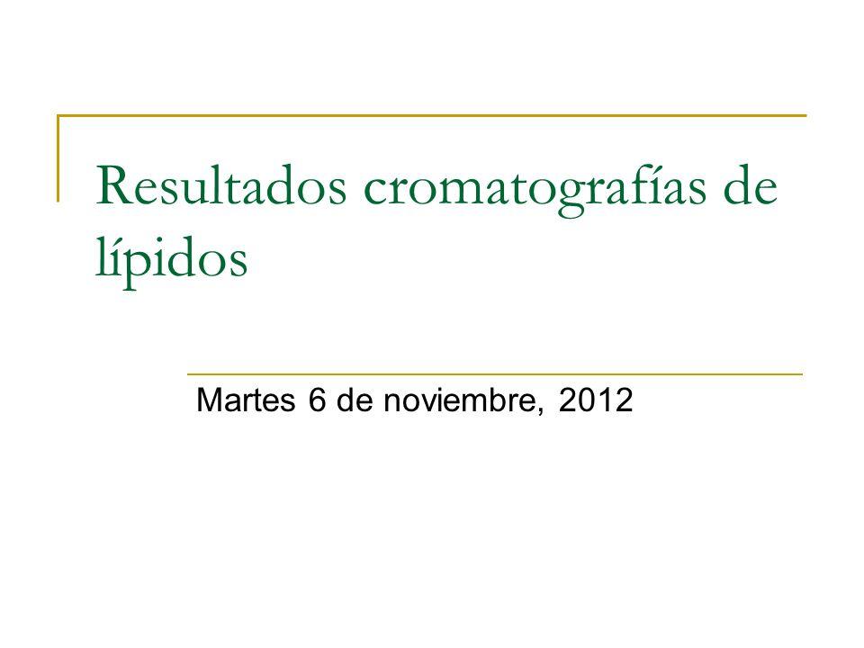 Resultados cromatografías de lípidos Martes 6 de noviembre, 2012