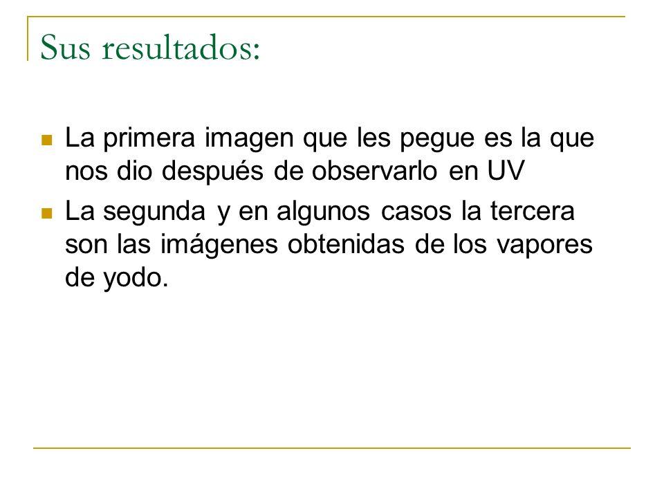 Sus resultados: La primera imagen que les pegue es la que nos dio después de observarlo en UV La segunda y en algunos casos la tercera son las imágenes obtenidas de los vapores de yodo.