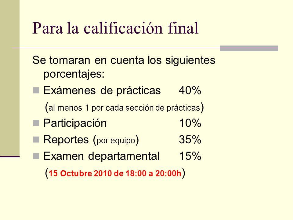 Para la calificación final Se tomaran en cuenta los siguientes porcentajes: Exámenes de prácticas 40% ( al menos 1 por cada sección de prácticas ) Par