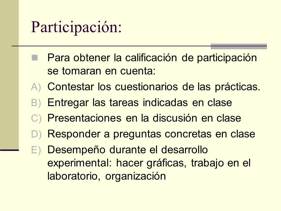 Participación: Para obtener la calificación de participación se tomaran en cuenta: A) Contestar los cuestionarios de las prácticas. B) Entregar las ta