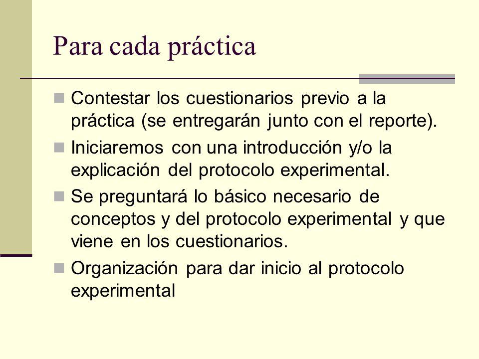 Para cada práctica Contestar los cuestionarios previo a la práctica (se entregarán junto con el reporte). Iniciaremos con una introducción y/o la expl
