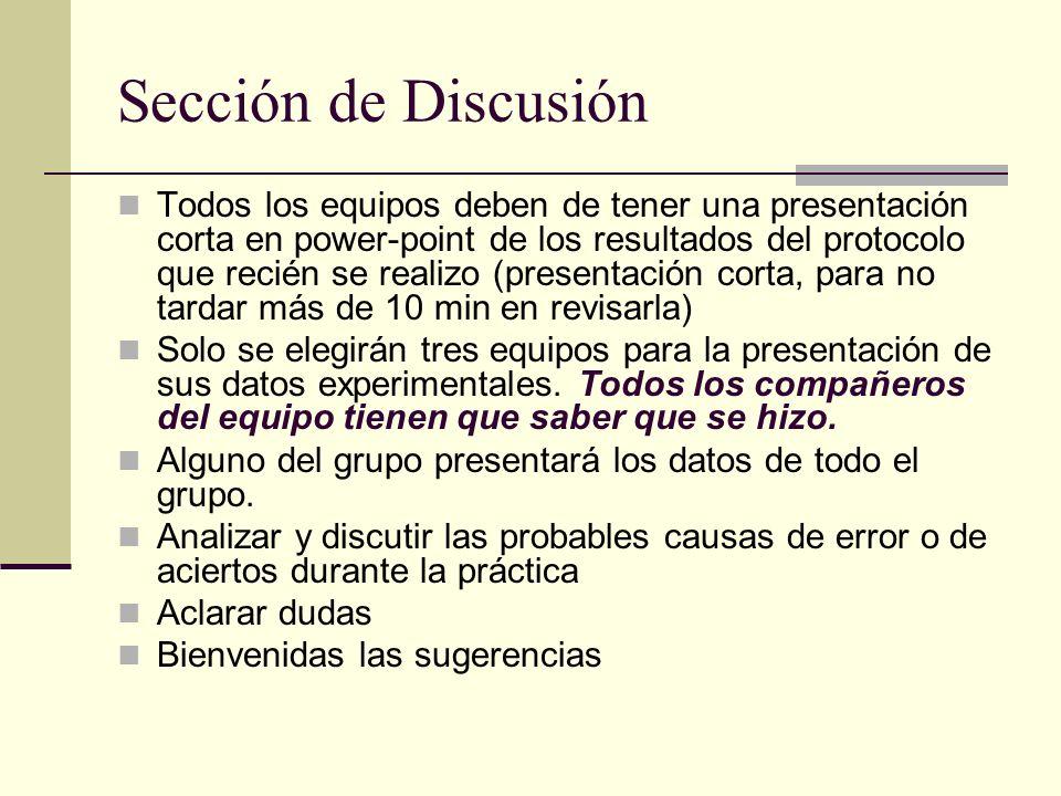 Sección de Discusión Todos los equipos deben de tener una presentación corta en power-point de los resultados del protocolo que recién se realizo (pre