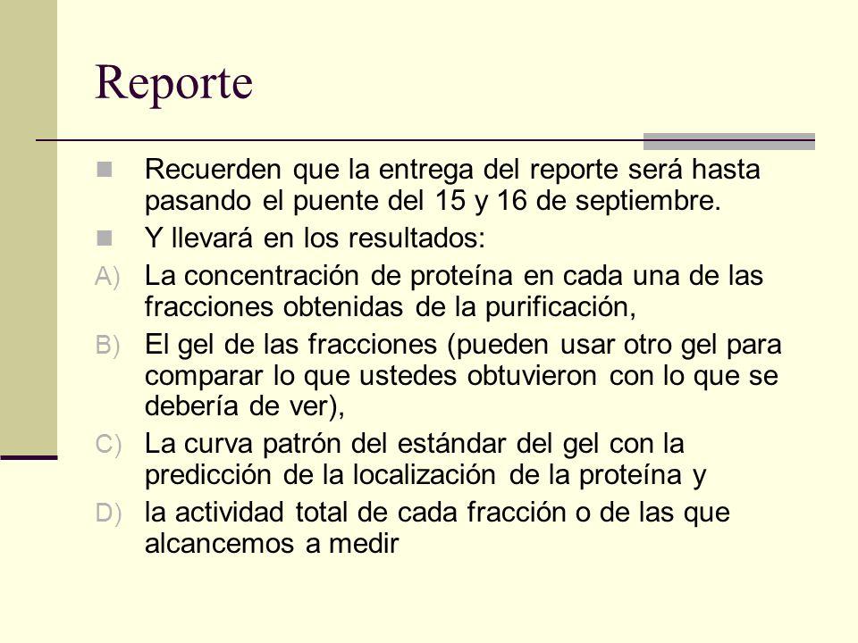 Reporte Recuerden que la entrega del reporte será hasta pasando el puente del 15 y 16 de septiembre. Y llevará en los resultados: A) La concentración