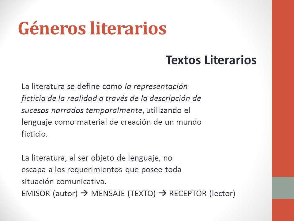 Géneros literarios Textos Literarios La literatura se define como la representación ficticia de la realidad a través de la descripción de sucesos narr
