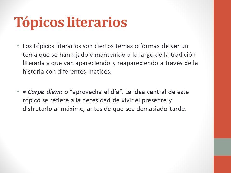 Tópicos literarios Los tópicos literarios son ciertos temas o formas de ver un tema que se han fijado y mantenido a lo largo de la tradición literaria