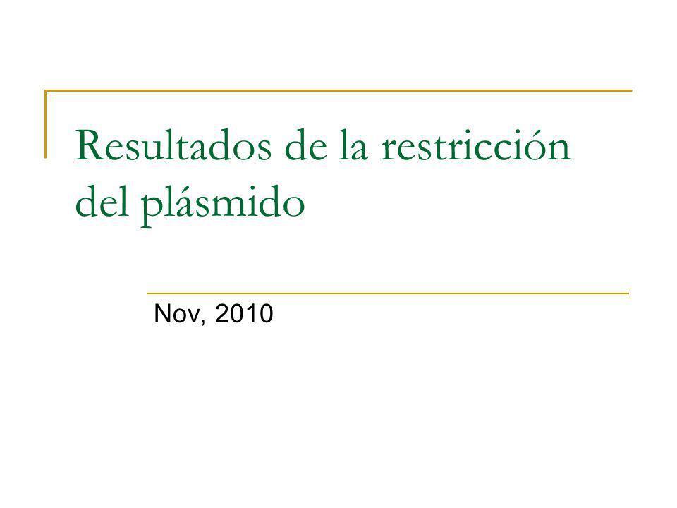 Resultados de la restricción del plásmido Nov, 2010