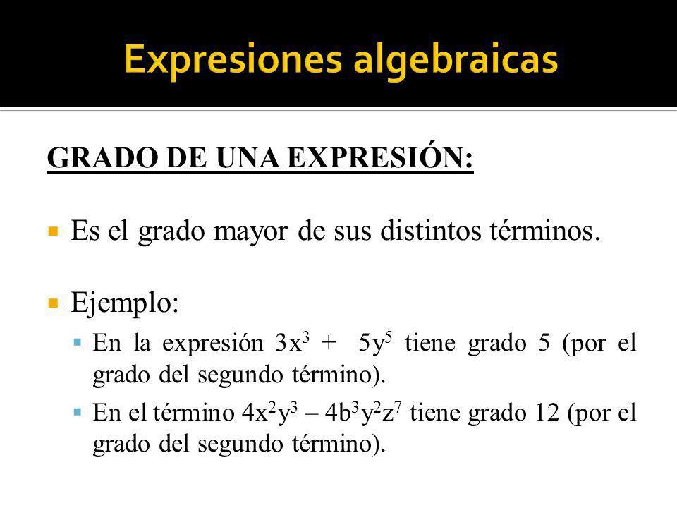 GRADO DE UNA EXPRESIÓN: Es el grado mayor de sus distintos términos. Ejemplo: En la expresión 3x 3 + 5y 5 tiene grado 5 (por el grado del segundo térm