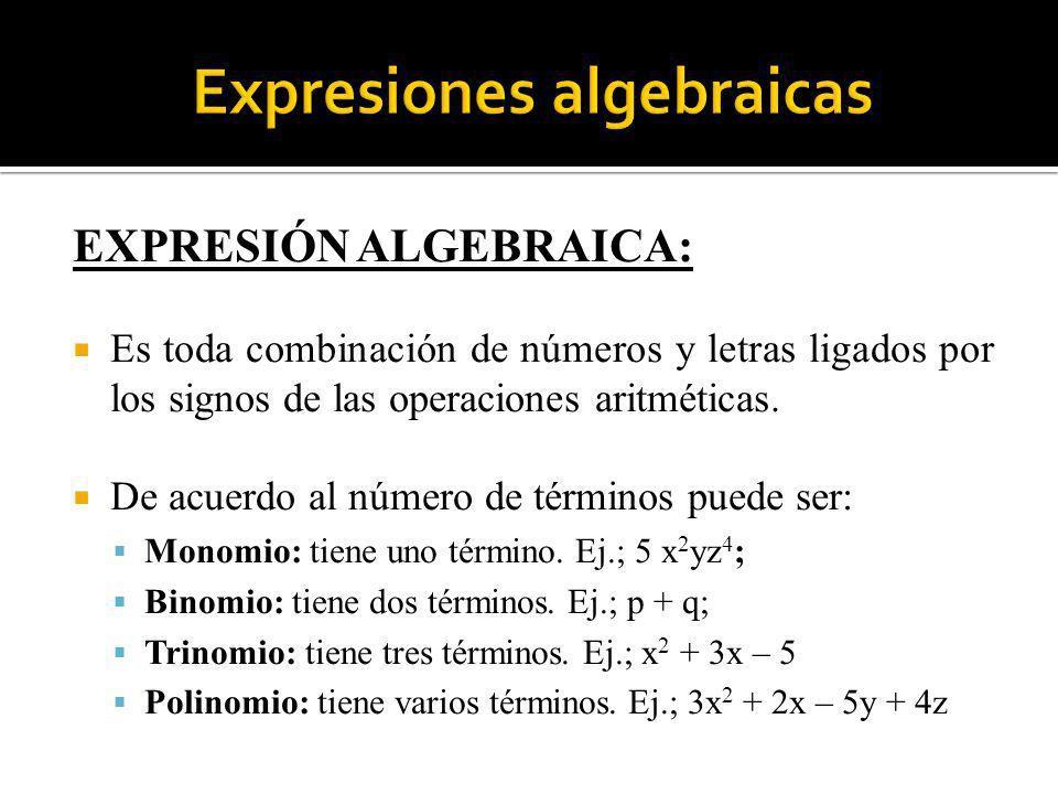 EXPRESIÓN ALGEBRAICA: Es toda combinación de números y letras ligados por los signos de las operaciones aritméticas. De acuerdo al número de términos