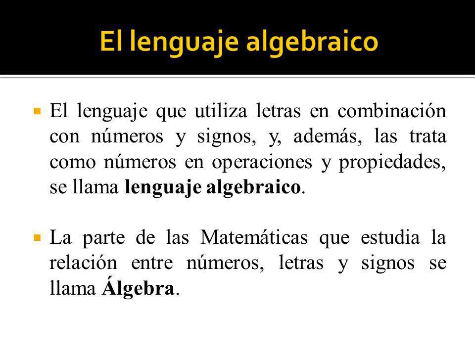 El lenguaje que utiliza letras en combinación con números y signos, y, además, las trata como números en operaciones y propiedades, se llama lenguaje