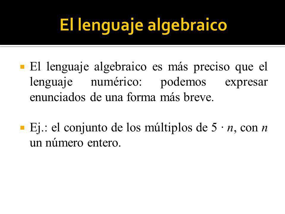 El lenguaje algebraico permite expresar relaciones y propiedades numéricas de carácter general.
