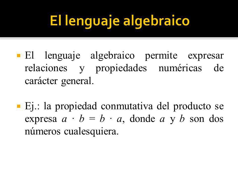 El lenguaje algebraico permite expresar relaciones y propiedades numéricas de carácter general. Ej.: la propiedad conmutativa del producto se expresa