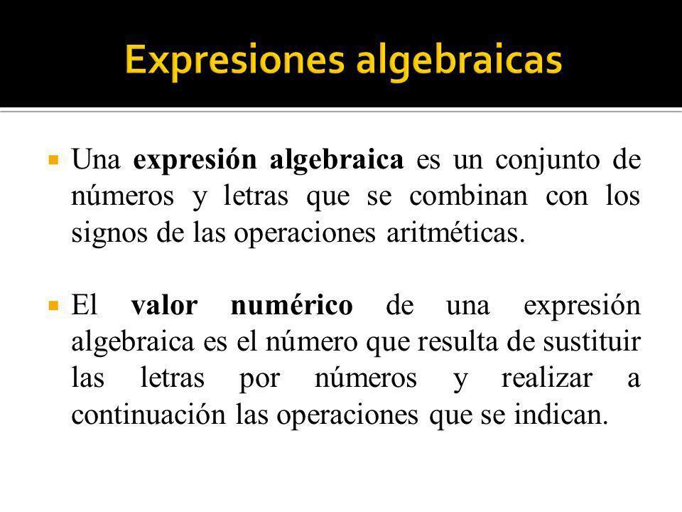 Una expresión algebraica es un conjunto de números y letras que se combinan con los signos de las operaciones aritméticas. El valor numérico de una ex