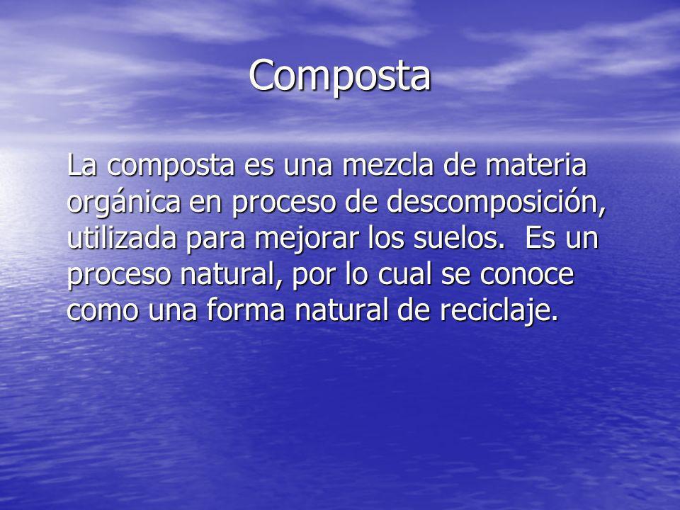 Composta La composta es una mezcla de materia orgánica en proceso de descomposición, utilizada para mejorar los suelos. Es un proceso natural, por lo