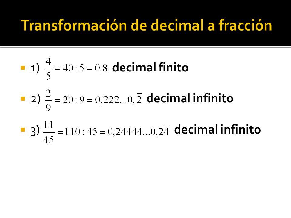 1) decimal finito 2) decimal infinito 3) decimal infinito
