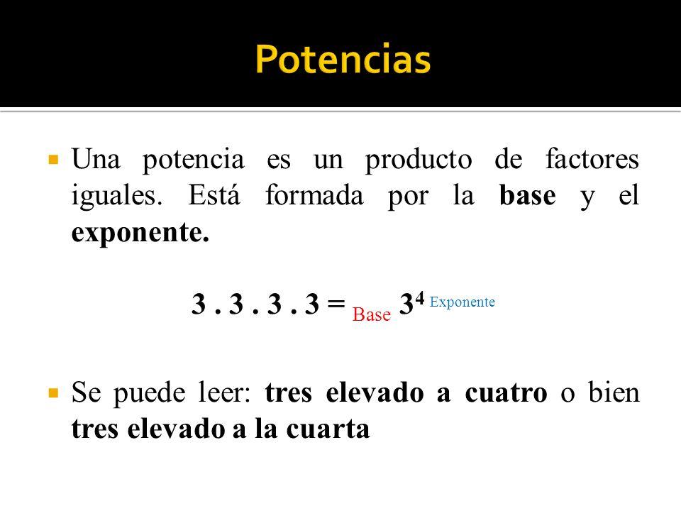Una potencia es un producto de factores iguales. Está formada por la base y el exponente. 3. 3. 3. 3 = Base 3 4 Exponente Se puede leer: tres elevado