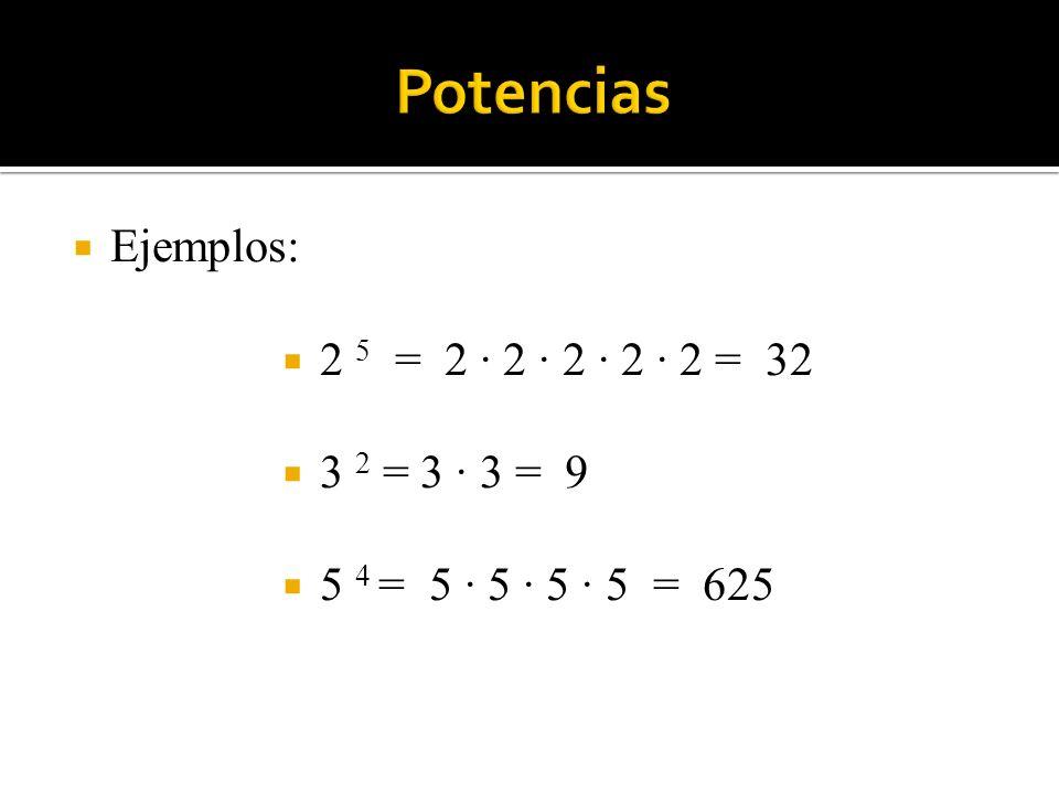 Ejemplos: 2 5 = 2 · 2 · 2 · 2 · 2 = 32 3 2 = 3 · 3 = 9 5 4 = 5 · 5 · 5 · 5 = 625
