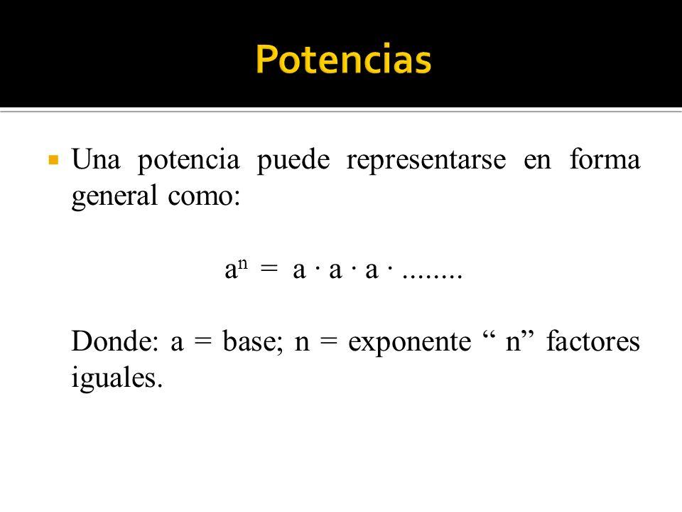 Una potencia puede representarse en forma general como: a n = a · a · a ·........ Donde: a = base; n = exponente n factores iguales.