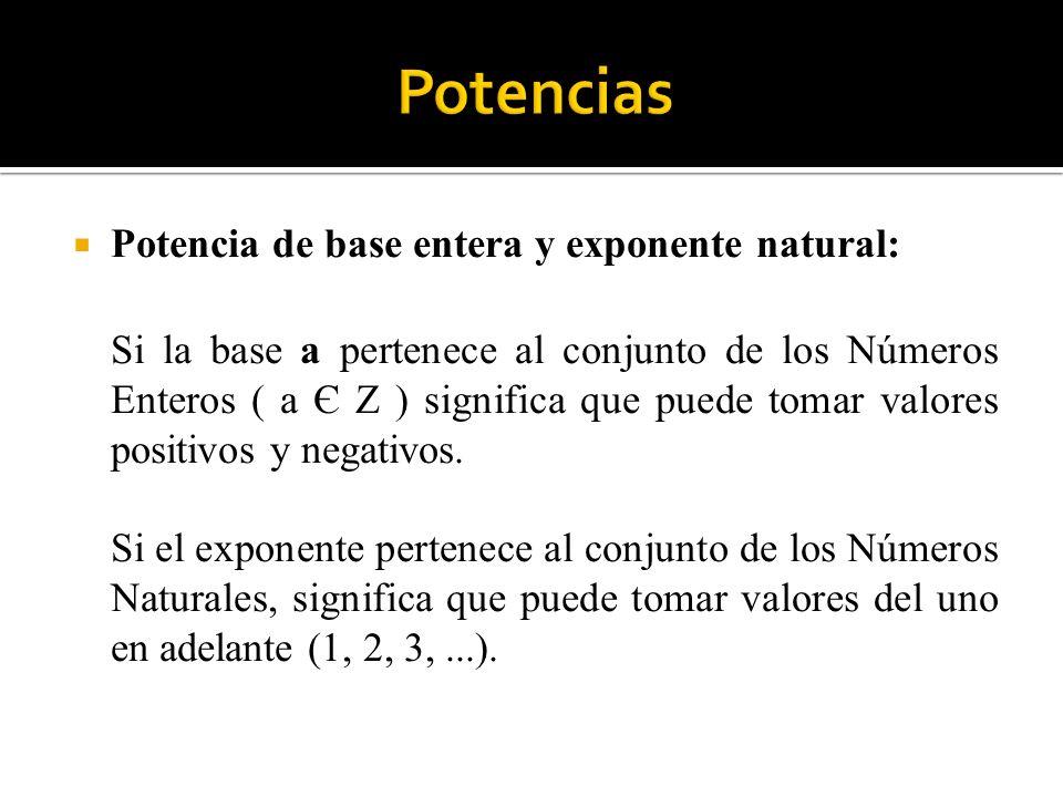 Potencia de base entera y exponente natural: Si la base a pertenece al conjunto de los Números Enteros ( a Є Z ) significa que puede tomar valores pos