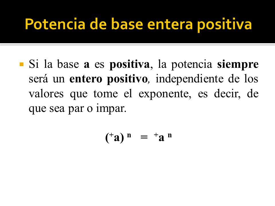 Si la base a es positiva, la potencia siempre será un entero positivo, independiente de los valores que tome el exponente, es decir, de que sea par o