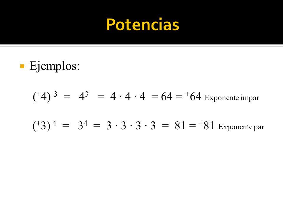 Ejemplos: ( + 4) 3 = 4 3 = 4 · 4 · 4 = 64 = + 64 Exponente impar ( + 3) 4 = 3 4 = 3 · 3 · 3 · 3 = 81 = + 81 Exponente par