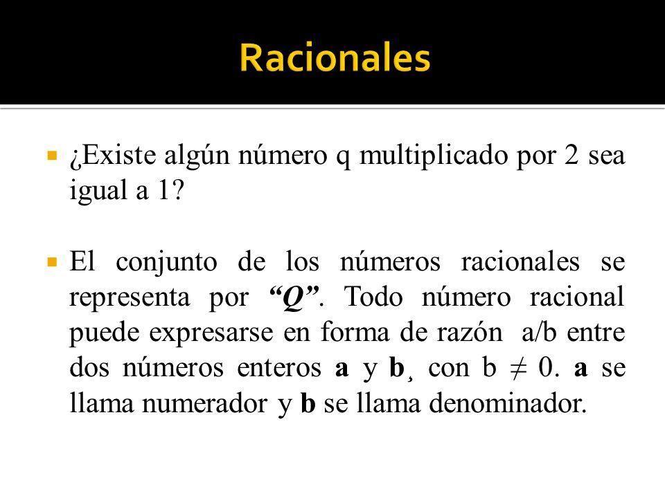 ¿Existe algún número q multiplicado por 2 sea igual a 1? El conjunto de los números racionales se representa por Q. Todo número racional puede expresa