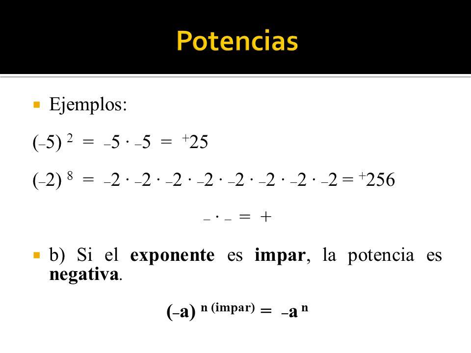Ejemplos: ( _ 5) 2 = _ 5 · _ 5 = + 25 ( _ 2) 8 = _ 2 · _ 2 · _ 2 · _ 2 · _ 2 · _ 2 · _ 2 · _ 2 = + 256 _ · _ = + b) Si el exponente es impar, la poten