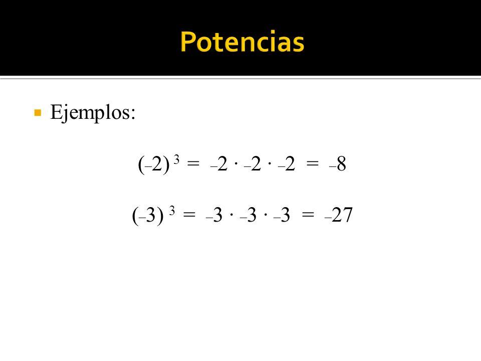 Ejemplos: ( _ 2) 3 = _ 2 · _ 2 · _ 2 = _ 8 ( _ 3) 3 = _ 3 · _ 3 · _ 3 = _ 27