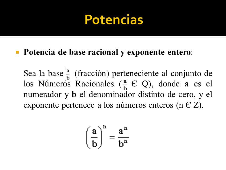 Potencia de base racional y exponente entero: Sea la base (fracción) perteneciente al conjunto de los Números Racionales ( Є Q), donde a es el numerad