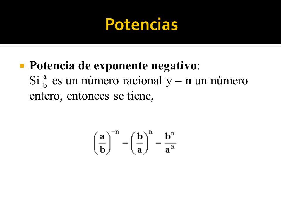 Potencia de exponente negativo: Si es un número racional y – n un número entero, entonces se tiene,