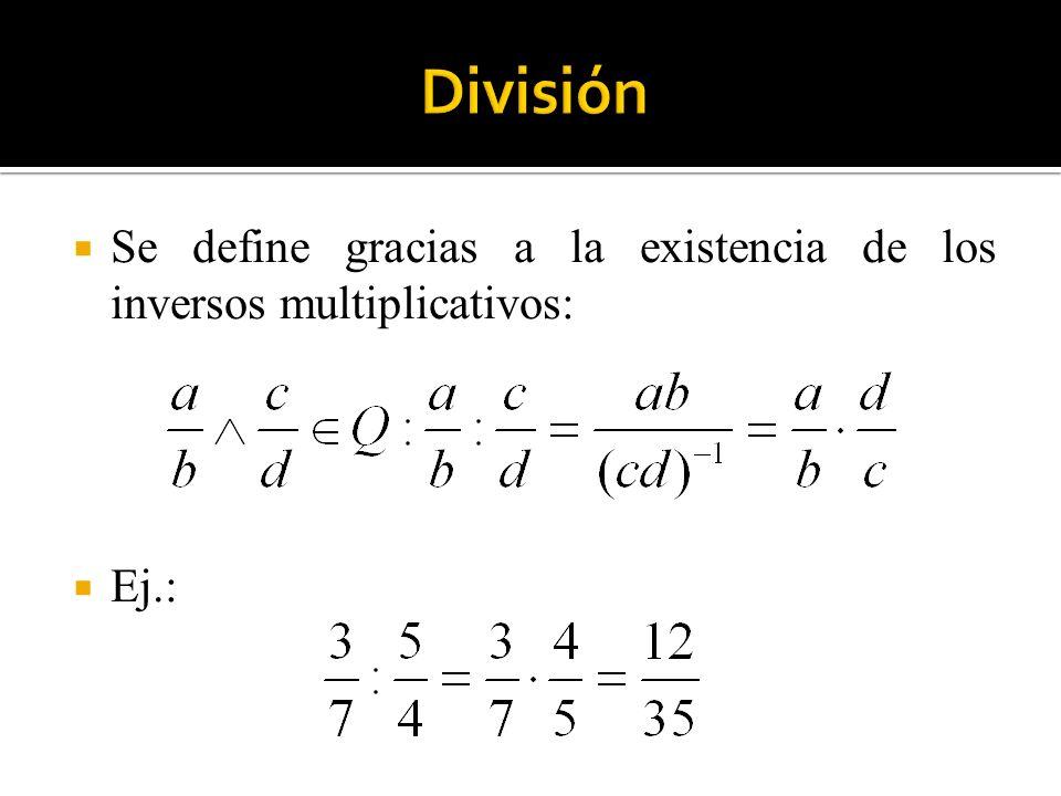 Se define gracias a la existencia de los inversos multiplicativos: Ej.: