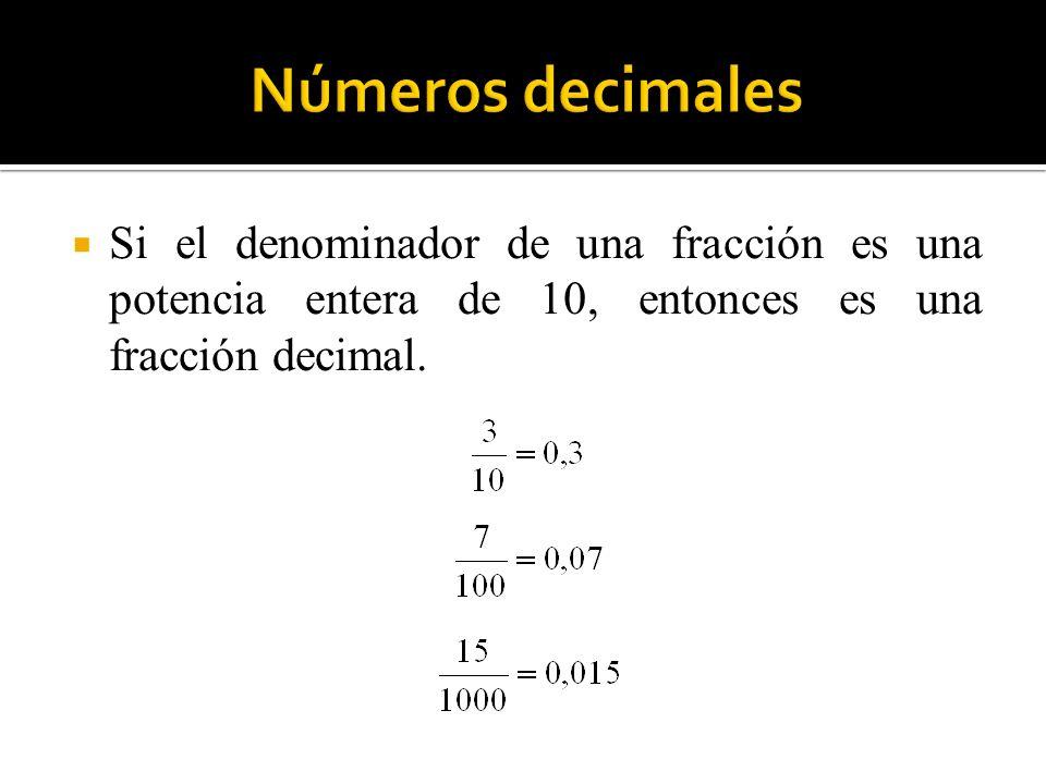 Si el denominador de una fracción es una potencia entera de 10, entonces es una fracción decimal.