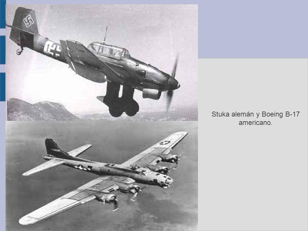 Stuka alemán y Boeing B-17 americano.