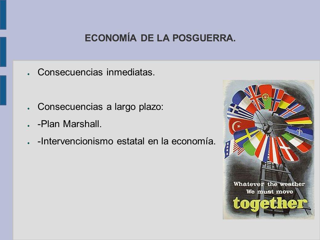ECONOMÍA DE LA POSGUERRA. Consecuencias inmediatas. Consecuencias a largo plazo: -Plan Marshall. -Intervencionismo estatal en la economía.