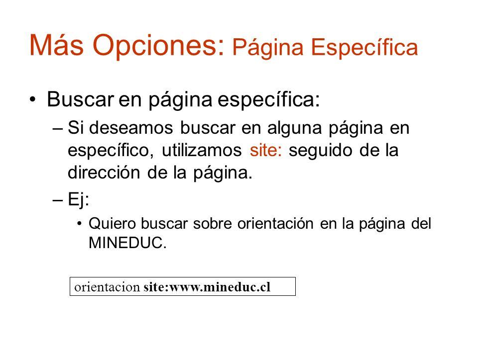 Más Opciones: Página Específica Buscar en página específica: –Si deseamos buscar en alguna página en específico, utilizamos site: seguido de la direcc