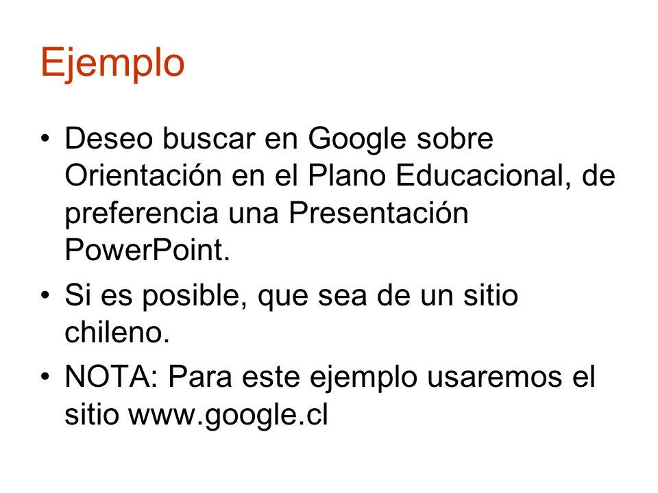 Ejemplo Deseo buscar en Google sobre Orientación en el Plano Educacional, de preferencia una Presentación PowerPoint. Si es posible, que sea de un sit