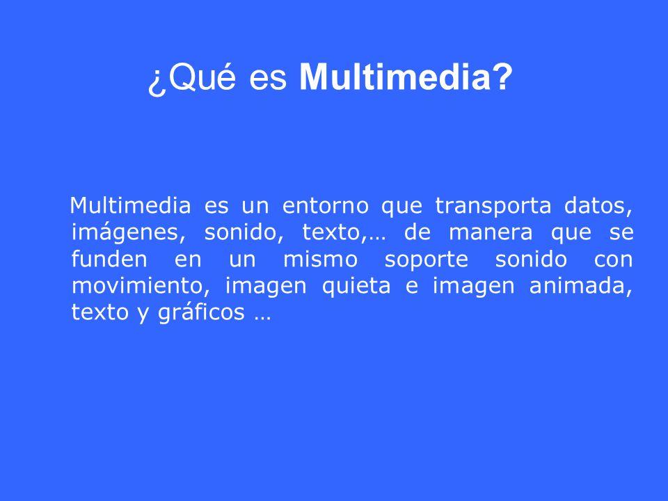 ¿Qué es Multimedia? Multimedia es un entorno que transporta datos, imágenes, sonido, texto,… de manera que se funden en un mismo soporte sonido con mo