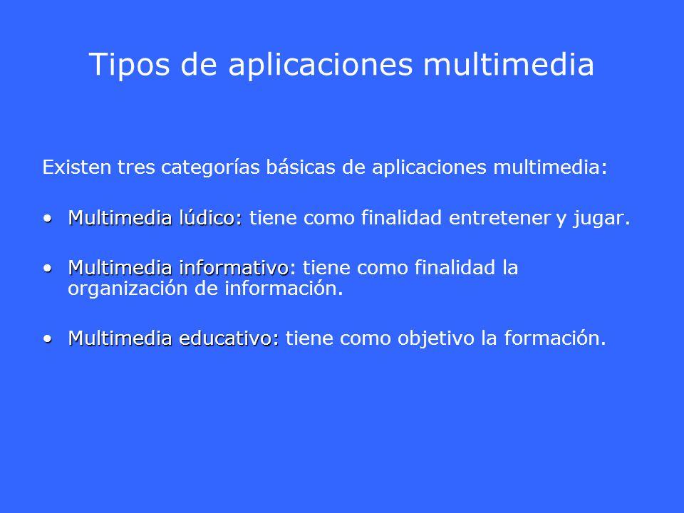 Tipos de aplicaciones multimedia Existen tres categorías básicas de aplicaciones multimedia: Multimedia lúdico:Multimedia lúdico: tiene como finalidad
