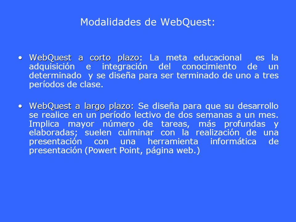 Modalidades de WebQuest: WebQuest a corto plazoWebQuest a corto plazo: La meta educacional es la adquisición e integración del conocimiento de un dete