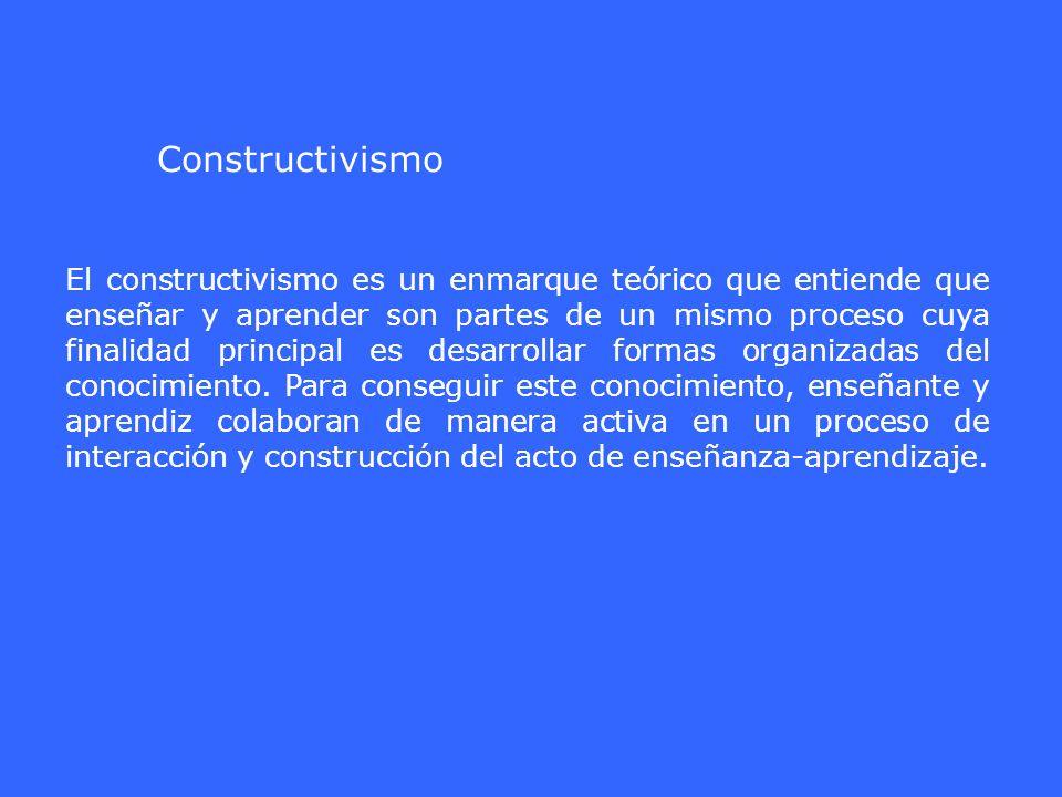 El constructivismo es un enmarque teórico que entiende que enseñar y aprender son partes de un mismo proceso cuya finalidad principal es desarrollar f