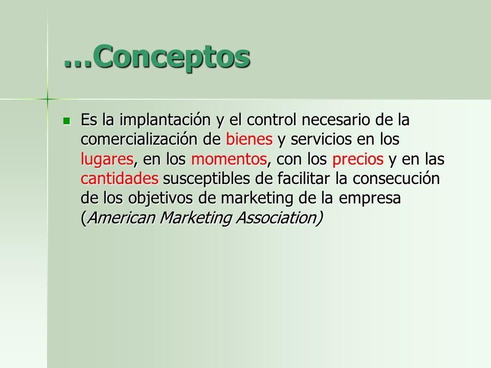 …Conceptos Es la implantación y el control necesario de la comercialización de bienes y servicios en los lugares, en los momentos, con los precios y e