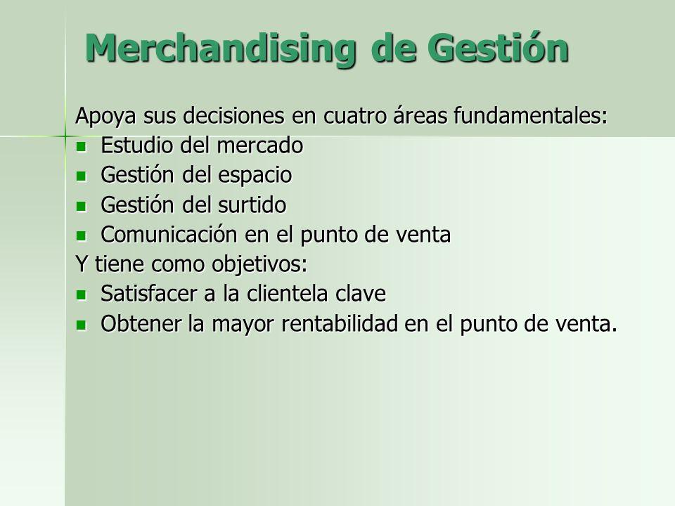 Merchandising de Gestión Apoya sus decisiones en cuatro áreas fundamentales: Estudio del mercado Estudio del mercado Gestión del espacio Gestión del e