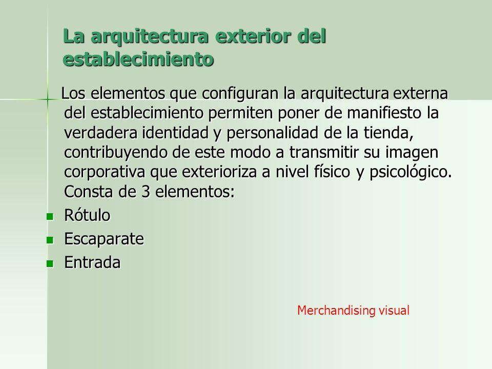 La arquitectura exterior del establecimiento Los elementos que configuran la arquitectura externa del establecimiento permiten poner de manifiesto la