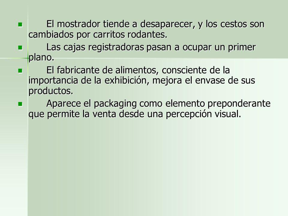 El mostrador tiende a desaparecer, y los cestos son cambiados por carritos rodantes. El mostrador tiende a desaparecer, y los cestos son cambiados por