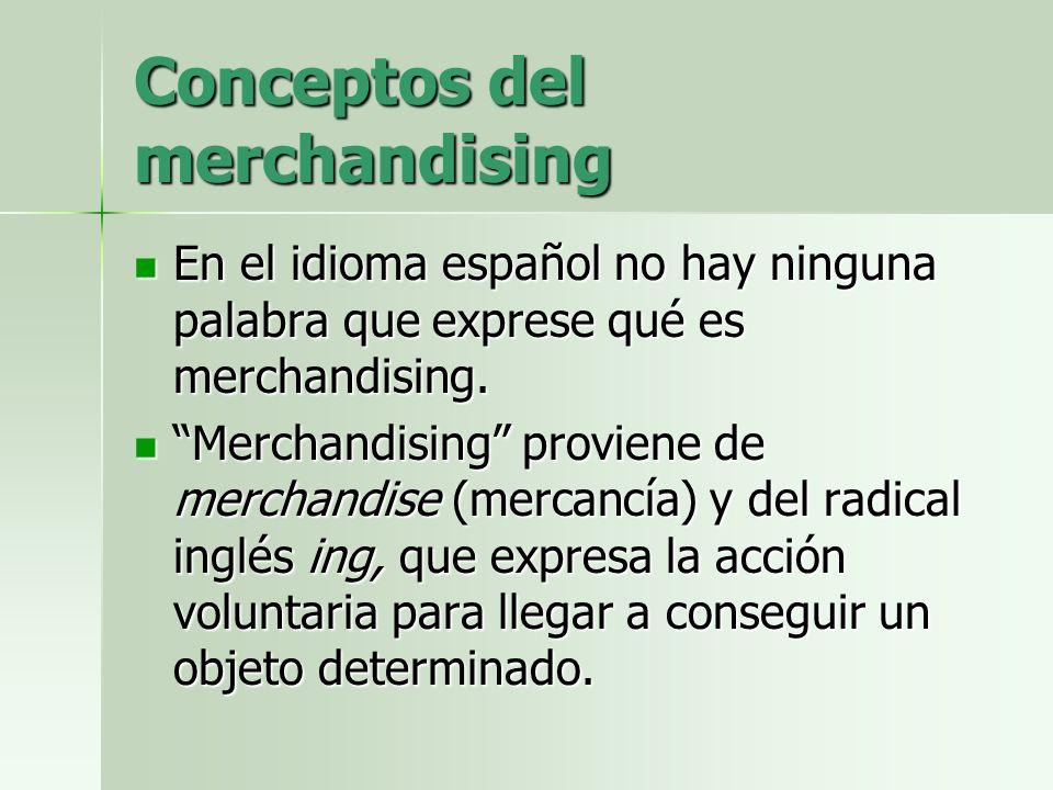 Conceptos del merchandising En el idioma español no hay ninguna palabra que exprese qué es merchandising. En el idioma español no hay ninguna palabra