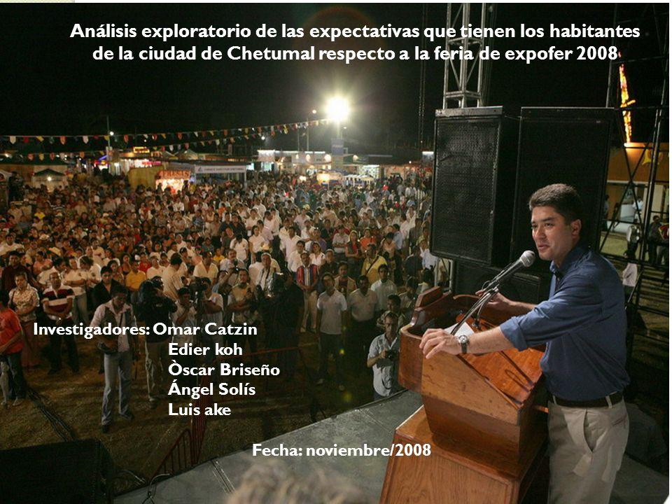 Análisis exploratorio de las expectativas que tienen los habitantes de la ciudad de Chetumal respecto a la feria de expofer 2008 Investigadores: Omar