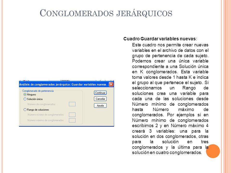 C ONGLOMERADOS JERÁRQUICOS Cuadro Guardar variables nuevas: Este cuadro nos permite crear nuevas variables en el archivo de datos con el grupo de pertenencia de cada sujeto.
